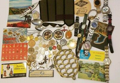 Vintage junk drawer lot turtle watches coins tokens jewelry postcards spoons