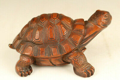 Asian old boxwood hand carved tortoise statue figure netsuke collectable gift