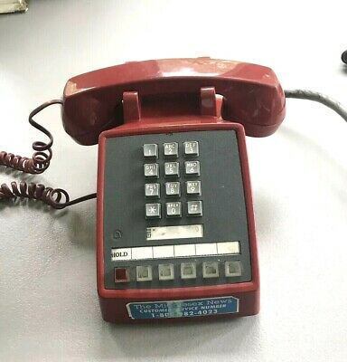 Western Electric 5 Line Red Touch Tone Desk Phone Telephone 2565
