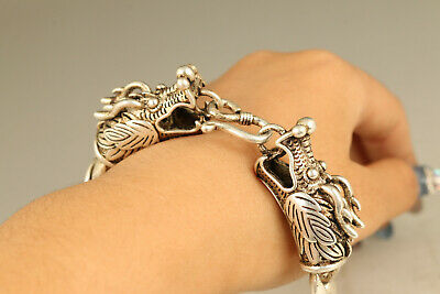 rare Asian old tibet silver hand carved dragon bracelet gift