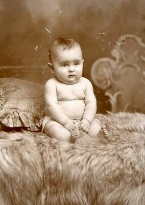 ANTIQUE CABINET PHOTO CHUBBY BABY w FUR BLANKET & PILLOW by BROWN of CT