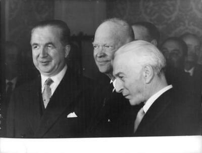 """Photograph of Dwight David """"Ike"""" Eisenhower. with other politician"""
