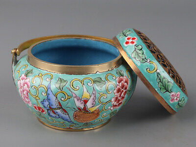 Chinese Exquisite Handmade flower insect fruit copper Cloisonne incense burner