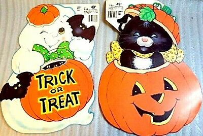 Vintage 1980s Peck Halloween Pumpkin Cat Ghost Paper Window USA Made Decorations