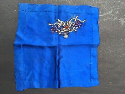 Antique Indian Silver Thread Blue Velvet Rumal Napkin Woman's Stone Embroidered