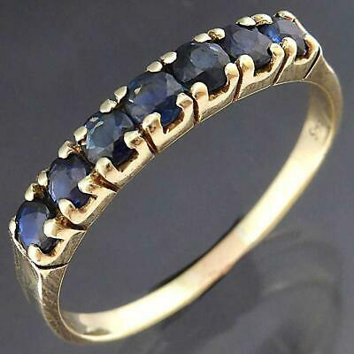 Narrow Stacker 7 Natural Blue SAPPHIRE 14K Solid Yellow GOLD ETERNITY RING Sz Q