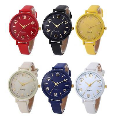 Lady Womens Stainless Steel Watch PU Leather Analog Quartz Casual Wrist Watches