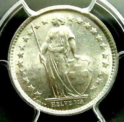 PCGS MS65 Secure-Switzerland 1964B Liberty Silver 1/2 Franc GEMBU Scarce