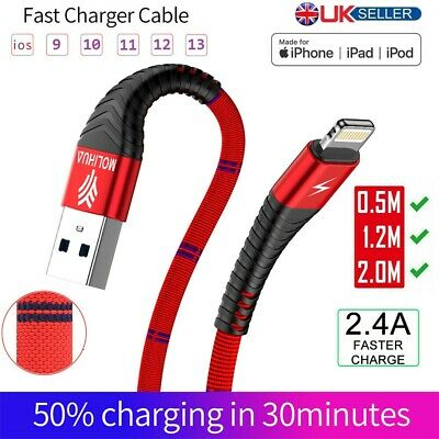 Long Braided USB Quick Charger Data Charging Cable Lead For iPhone 11 11P XR 8 7