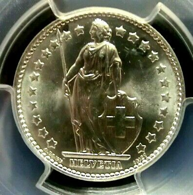 PCGS MS65 Secure-Switzerland 1965B Liberty Silver 1 Franc GEMBU Scarce
