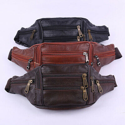 Men's Leather Waist Bag Bum Bag Belt Fanny Pack Cycling Running Zipper Bag AU