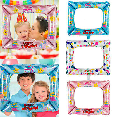 3pcs Foil Balloons Photo Frame Photo Props Kids Happy Birthday Party Decorations