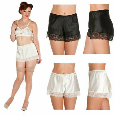 Womens Satin French Knickers Panties Ladies Lace Trim Elastic Waist Boxer Shorts