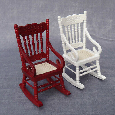 1:12 Dollhouse Miniature Wooden Rocking Chair Model Toy DIY House Decor Eyeful