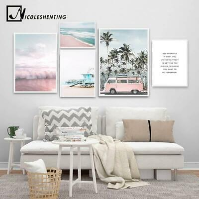 Ocean Landscape Canvas Poster Nordic Style Beach Pink Bus Wall Art Print Paintin
