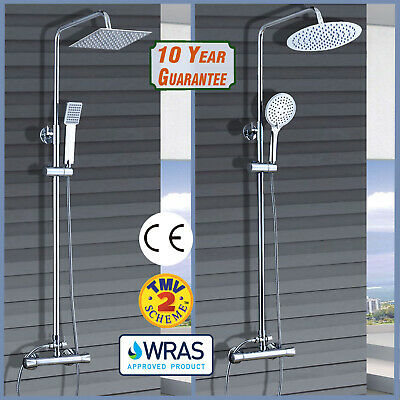Thermostatic Exposed Shower Mixer Bathroom Twin Head Round Square Bar Set