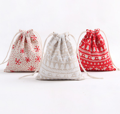 Christmas Candy Party Storage Bag Cotton Linen Drawstring Tea Gift Bundle Bags