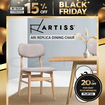 【20%OFF】 Dining Chairs Retro Replica Kitchen Cafe Wood Chair Fabric Pad Beige x2