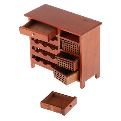 1/12 Scale Dollhouse Miniature Furniture Red Wooden Wine Cabinet Modern