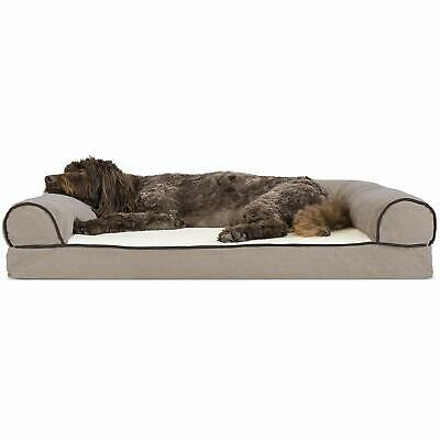Furhaven Pet Dog Bed | Memory Foam Faux Fleece and Chenille Traditional Living