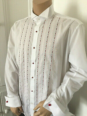 Embroidered White Rocola Dress Shirt Bnwt Wing Collar Double Cuffs 40 X 15.5 M