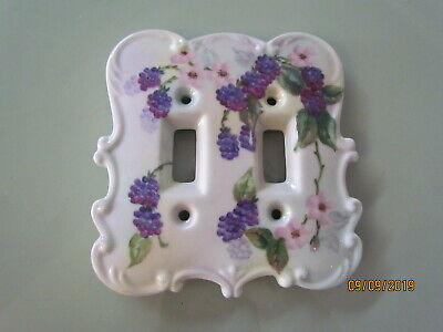 Vintage Porcelain Hand Painted Lilacs Roses Double Switch Plate Cover