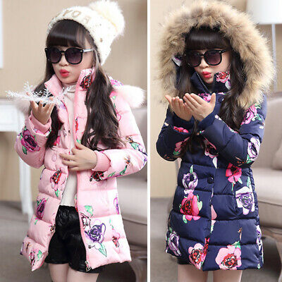 Children Girls Winter Warm Hoodie Casual Outdoor Coat Long Sleeve Floral Jacket