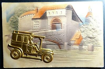 Postcard - Heavily Embossed - Novelty with Metal Car added S.L. & Co.