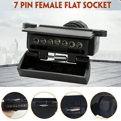 7 Pin Flat Female Trailer Light Plug Connector Socket Caravan Car Truck Adapter