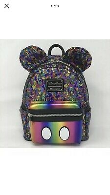 Disney Parks Mickey Rainbow Sequined Loungefly Backpack