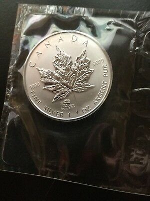2000 1 oz  Silver Canadian Maple leaf Dragon Privy Sealed With COA from the RCM