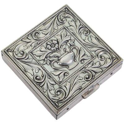 Antique Art Nouveau Sterling Silver Compact VOLUPTE Floral Embossed Box Powder