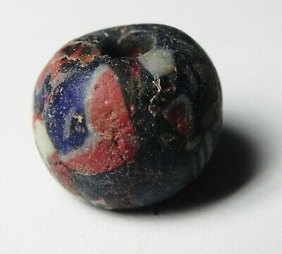 Zurqieh - As14031-  Ancient Holy Land. Byzantine Glass Bead. 800 - 1000 A.d