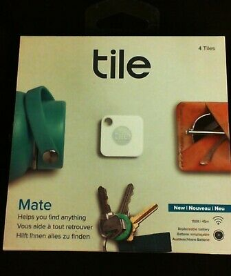 New Tile Mate Item Tracker 4 Tiles White  RT13004 Find Your Phone Free Shipping