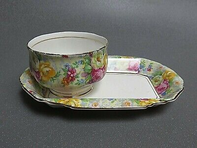 Royal Albert Rosetime Chintz Sugar Bowl On Tray.. No Creamer