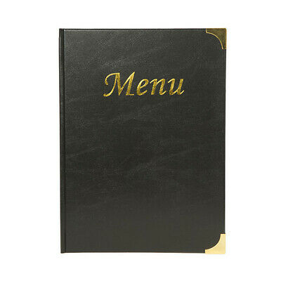 A4 Black Gloss Leather Style Restaurant Menu Holder / Menu Cover