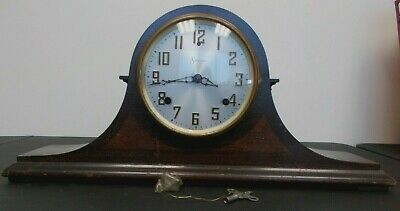 Antique Sessions Lyric 2 Mantle Clock Circa 1930s Wooden WORKING w/ Key Chimes