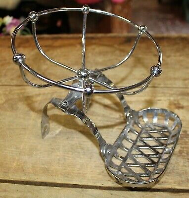 Large Vintage Chrome Bathroom Bath Tub Soap & Sponge Holder Rack Dish