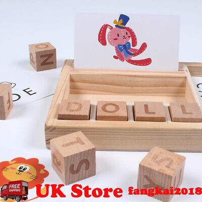 Wooden Building Blocks English Spelling Toys Kids English Learning Education Toy