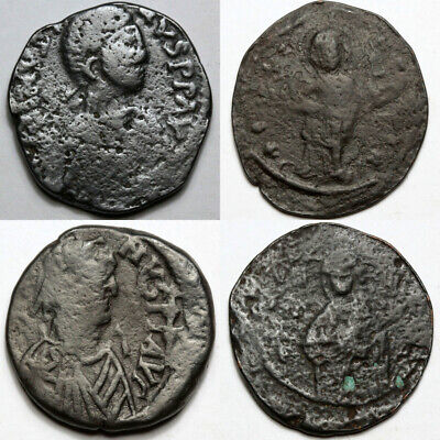 Top Lot Of 4 Uncertain Large Byzantine Bronze Coins