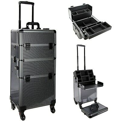 Aluminum Trimming Rolling Cosmetic Makeup Train Case with Keys and Locks by VB