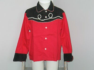 Vintage Western Wear Cowboy Shirt Childrens-Costume-Embroidery 1950s-size 6