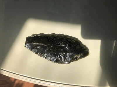 pre-columbian large obsidian point or blade