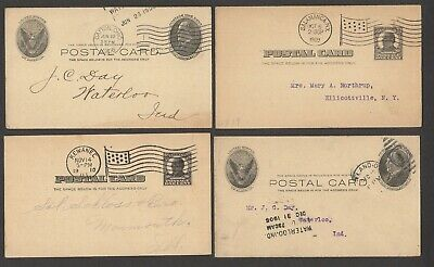 LQQK 4 antique early 1900s, U.S. COMPANY LETTER POSTAL CARDS, oh, ny., ill.