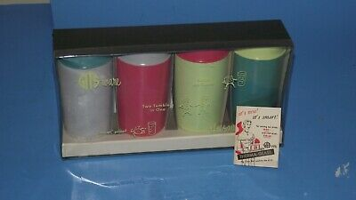 vintage 1960s GITS WARE THERMA-GLASS PLASTIC THERMO TUMBLERS NEW OLD BOX MCM nos