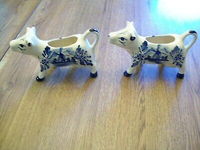 Two White W/Blue Design Porcelain China Cow Creamers--Holland?--Delft?
