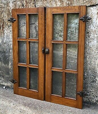 2 Vintage Antique Oak Window 6 Pane Architectural Salvage Pair 13 7/8 x 33 1/2
