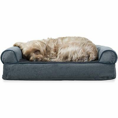 Furhaven Pet Dog Bed | Orthopedic Faux Fleece and Chenille Soft Woven Living w