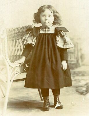 ANTIQUE CABINET PHOTO LITTLE GIRL w PLAID TRIMMED DRESS by CORNWELL BUFFALO NY