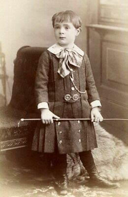 ANTIQUE CABINET PHOTO VICTORIAN BOY w DRESS PLAID BOW TIE & WHIP SPRINGFIELD MA